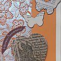 Carte d'anniversaire orange et argent