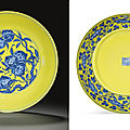 A very rare yellow-ground <b>blue</b> <b>and</b> <b>white</b> <b>dish</b>, Qianlong six-character seal mark in underglaze <b>blue</b> <b>and</b> of the period (1736-1795