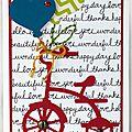 Carte d'anniversaire pour garçon avec vélo rouge et ballons