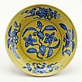 Dish with gardenia, Ming dynasty, Zhengde six-character mark in a double circle in underglaze blue on the base and period, PDF