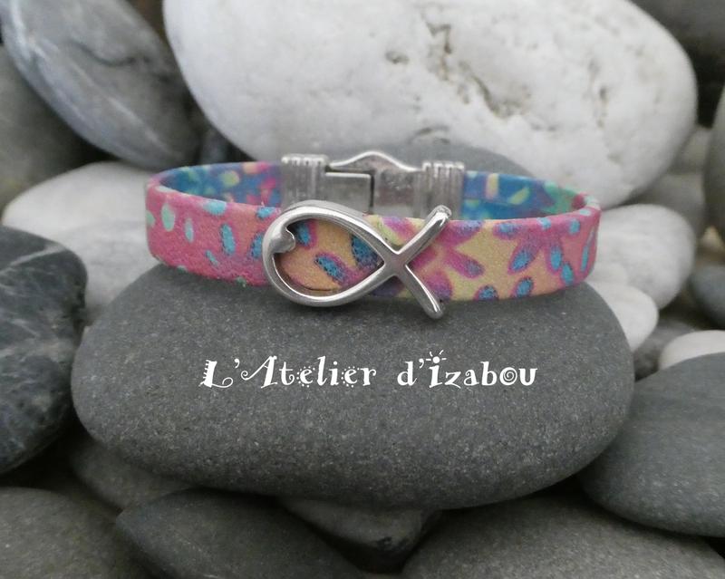 P1030206 Bracelet cuir multicolore, passant poisson et fermoir spirale magnétique