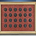 An important collection of 24 Wedgwood and Bentley basalt <b>portrait</b> medallions featuring the Kings of England, Circa 1775