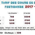 Tarifs 2017-2018