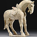 A painted straw-glazed pottery figure of a horse, Early Tang dynasty, <b>7th</b> <b>century</b>