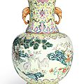 A famille-rose 'threegoats' vase, Seal mark and period of Daoguang (1821-1850)