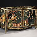 A magnificent pair of George III period ormolu-mounted Coromandel lacquer and black gilt-japanned serpentine commodes