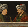 Workshop of Gentile Bellini (Venice c. 1429-1507), Portrait of <b>Sultan</b> Mehmed II (1432-1481), with a young dignitary
