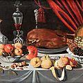 Jan albert rootius (1615-1674), nature morte au canard rôti, coupes de fruits et verre façon de venise