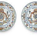 A rare pair of verte-imari <b>armorial</b> <b>dishes</b> for the Portuguese market, Early Qianlong period (1736-1795)