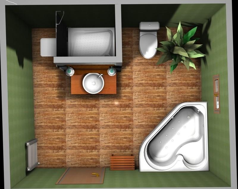 Petite idée du rendu de la salle de bains en 3D... - La construction ...