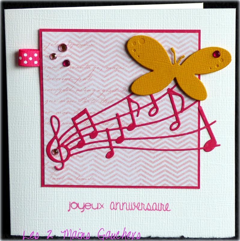 carte d'anniversaire féminine avec partition et papillon