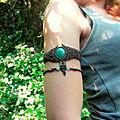 Bracelet de bras/biceps en macramé pierre aventurine
