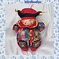 <b>Doudou</b> Poupée Clown Chiffon Arlequin Menestrel Corolle 1997