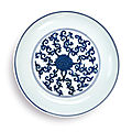 A blue and white '<b>lotus</b>' <b>dish</b>, Wanli Mark and Period (1573-1619)