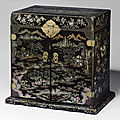 A rare mother-of-pearl-inlaid black lacquer <b>seal</b> <b>chest</b>,guanpixiang, 17th-18th century