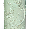 A carved pale celadon-glazed brush pot,bitong, Daoguang period (1821-1850)