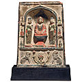A small painted stucco <b>Buddhist</b> stele, Tang dynasty (618-907)