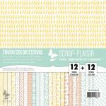 Lot 24 papiers textures bois colorés