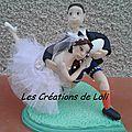 figurine à gateau de mariage sur le theme du rugby