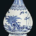A Chinese blue and white bottle vase, yuhuchunping, Daoguang underglazed blue six character mark and of the period (1821-1850)