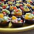 Salade de fruit dans coque chocolat