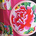 Robe Trapèze fleurie noire/Fuchsia fleurs imprimé chinois