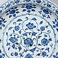 A <b>blue</b> <b>and</b> <b>white</b> early-Ming foliate-rim dish, Yongle period (1403-1424)