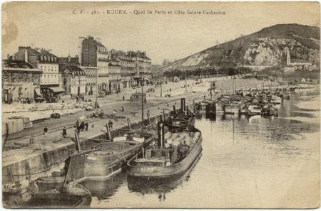 76 - ROUEN - Quai de Paris et côte Sainte Catherine