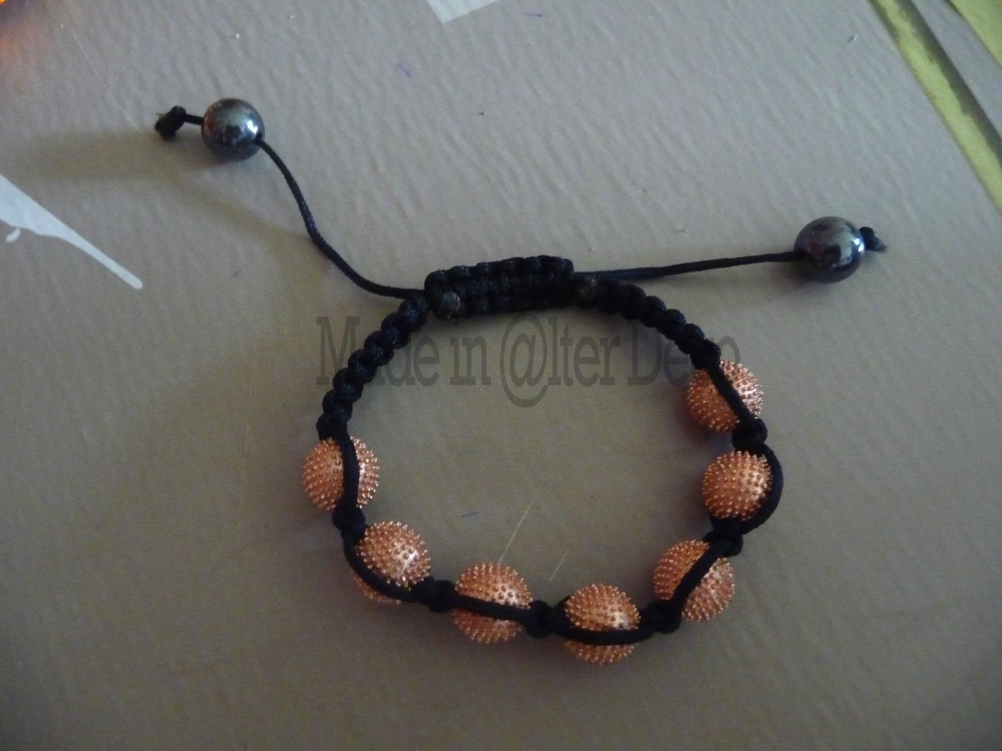 bracelet shamballa rose perlé
