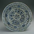 Blue-and-white plate with foliated edge and four seasonal flowers, Hongwu Period (1368-1398)