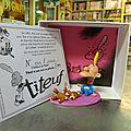 Pixi l'enfance de <b>Titeuf</b>, spermatozoïde, hochet, ours, cubes, école et Nadia. Prix de 44 à 100€.
