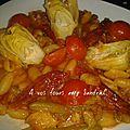 Pâtes à la tomate et aux artichauts pour 4 pers 5 pp