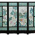 <b>19th</b> <b>century</b> Chinese four-panel famille rose porcelain screen auctions for $126,900