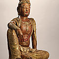 A magnificent and extremely rare polychrome wood figure of Water Moon Guanyin, Liao-Jin dynasty (907-<b>1234</b>)