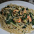 Spaguetti crevettes et épinard