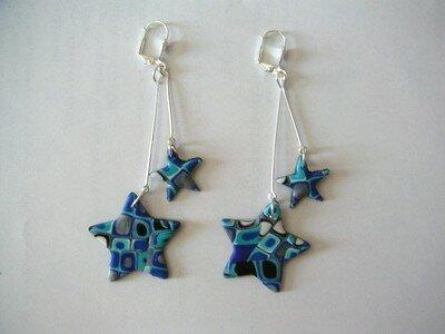 Boucles double étoiles Mosaik bleu
