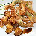 Papillotes de gambas et mangue rôtie