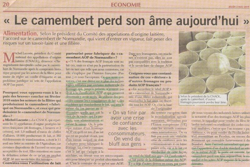 On ne le répétera jamais assez! La nouvelle AOC du camembert de Normandie n'est pas contre le LAIT CRU!