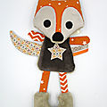 Doudou plat renard marron orange
