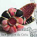 ♥ galene ♥ broche textile japonisante fleurs potirons - les yoyos de calie