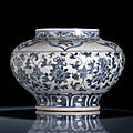 A blue and white lotos and lingzhi jar, <b>15th</b>-<b>16th</b> <b>century</b>