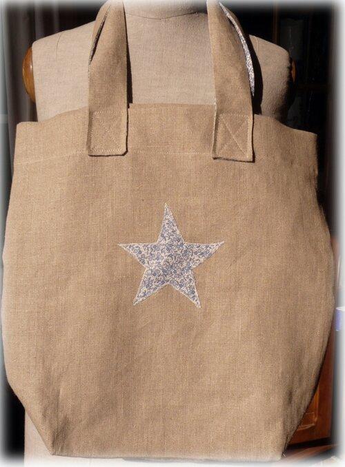 Cabas en lin application étoile en liberty