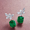 A Spectacular Pair of 16.43 and 15.19 Carat Colombian Emerald and Diamond <b>Ear</b> <b>Pendants</b>, By Jacques Timey for Harry Winston