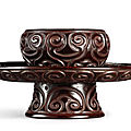 A <b>black</b> <b>and</b> <b>red</b> '<b>tixi</b>' <b>lacquer</b> lobed bowl stand, Yuan – Ming dynasty