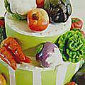 Détail, gâteau pour folle de fruits et légumes