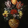 <b>Hendrik</b> <b>van</b> <b>der</b> <b>Borcht</b> <b>the</b> <b>Elder</b> (Brussels 1583 - 1651 Frankfurt), Flowers in a vase on a marble plinth