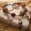 Collier perles brunes