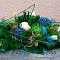 Centre de table allongé vert blanc et turquoise