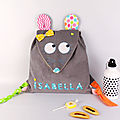 Sac à dos fille personnalisé prénom couleurs Isabella sac souris maternelle crèche bébé cadeau naissance baptême kindergarten backpack mouse personalized name girl preschool bag