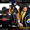 Robe mi-longue manches Arty design Chic noire moutarde made in France ISAmade